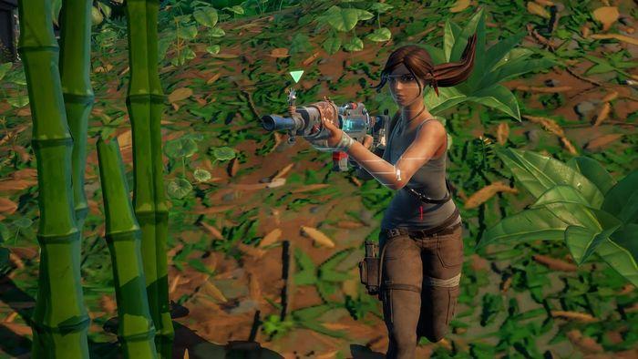Lara Croft running with a gun in her hand.