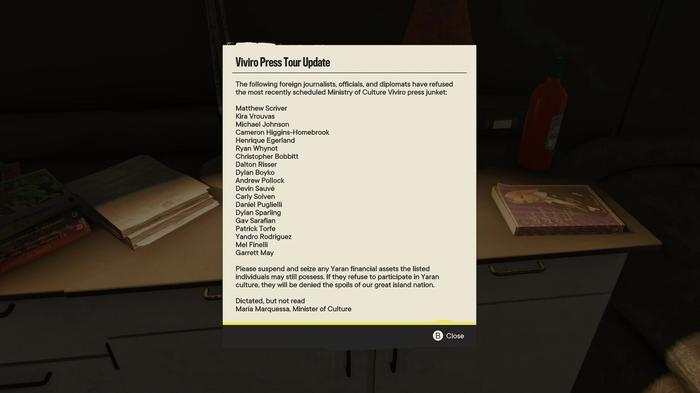 In a trailer at Maria Marquessa Productions, there is a note detailing the names of all the developers of Far Cry 6.