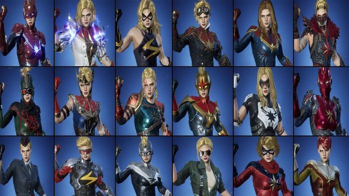 Every Marvel Future Revolution costume for Captain Marvel.