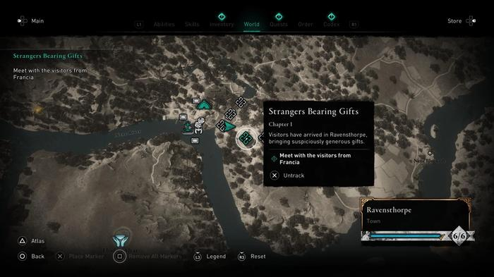 Assassin's Creed Valhalla Paris DLC starting point marked on map