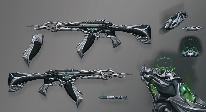 A look at different weapons in the Forsaken Valorant guns.