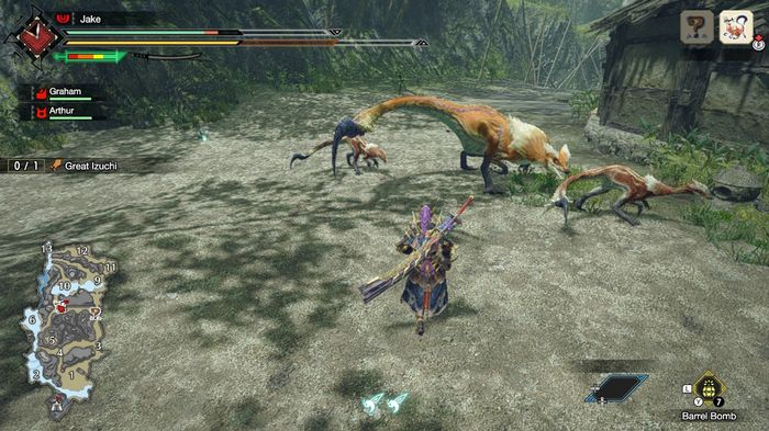 A hunter facing down the Great Izuchi in Monster Hunter Rise. The beast is surrounded by smaller Izuchi enemies