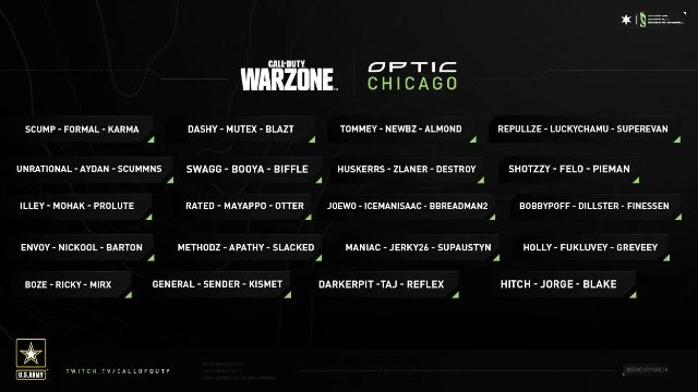 OpTic Chicago $100K Warzone Invitational Teams