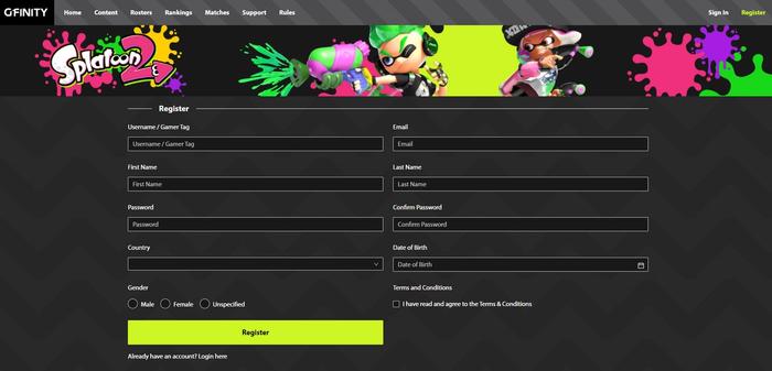 (Hub's Player Register - Desktop)