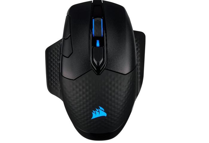 best ergonomic mouse, image of a black gaming mouse with padding and illuminated blue logo