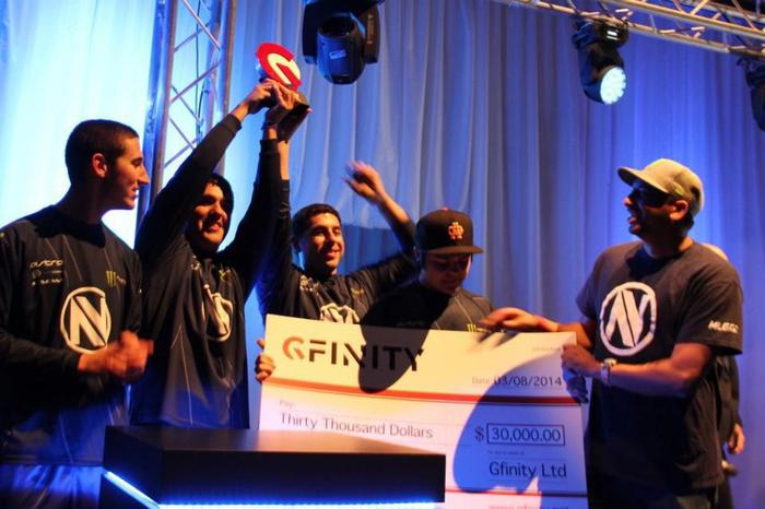 Team EnVy hoisting the Gfinity 3 trophy, as champions. Image Courtesy of Riikr.