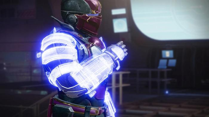 Image from Destiny 2 showing the No Backup Plans exotic armour.