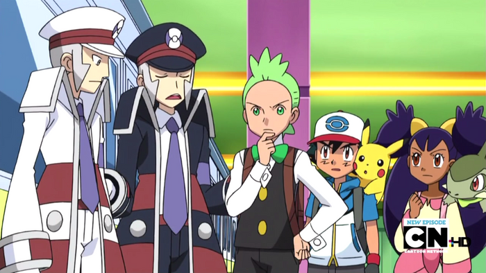 Ingo and Emmet talking to the main characters of the Pokemon anime.