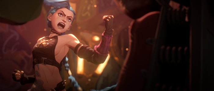 This image depicts the animation style used in League of Legends' upcoming Netflix Anime adaptation, Arcane.