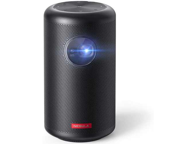 best projector, product image of a black cylindrical projector