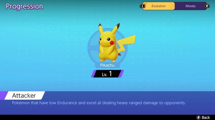 The progression page showing at what level Pokémon Unite Pikachu evolves.