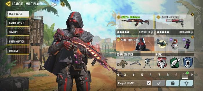 This image contains the an AK117 custom loadout build with three perks to use in COD: Mobile multiplayer mode.