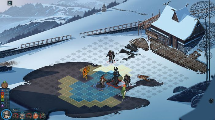 A turn-based tactics battle in The Banner Saga
