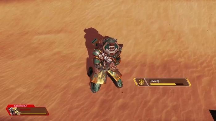 Bloodhound self reviving animation, sitting on desert sand.