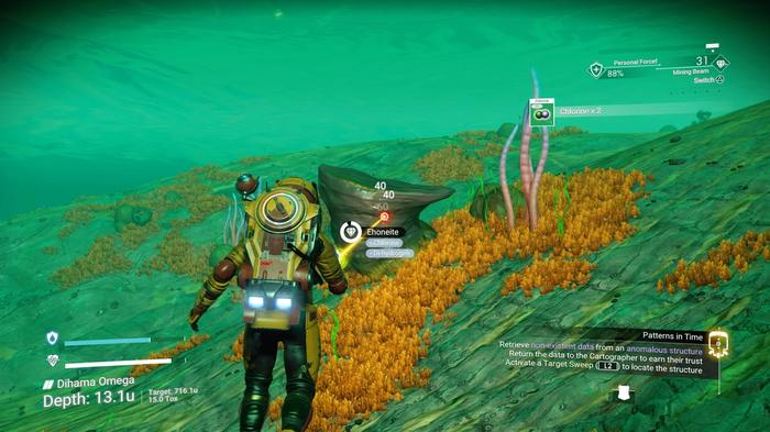 A player sits underwater and mines a mineral for Chlorine
