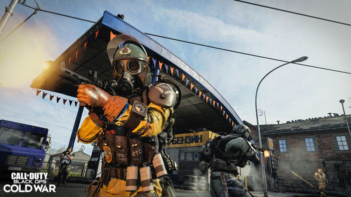 A soldier fires a submachine gun in the multiplayer mode for Call of Duty Black Ops Cold War