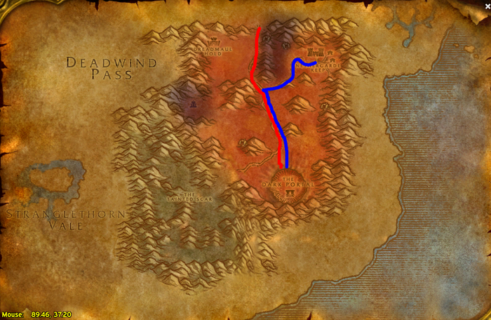Alliance (Blue) and Horde (Red)