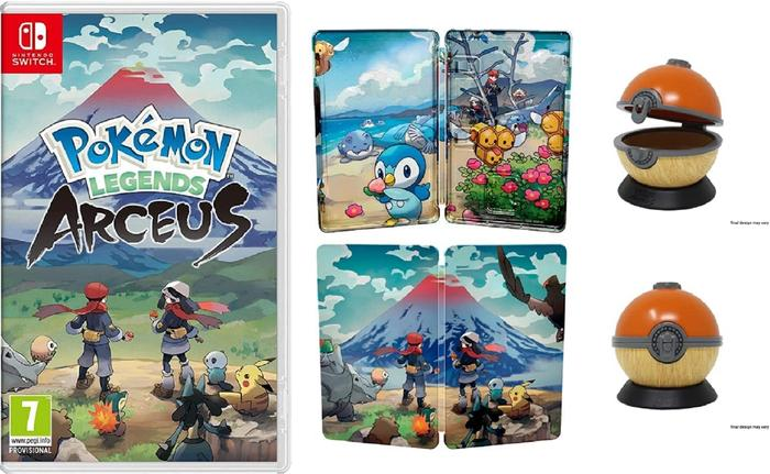 The Pokémon Legends: Arceus box with trainers looking up at a mountain, the steelbook with illustrations of Pokémon, and a replica wooden PokéBall.