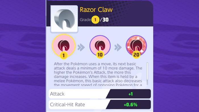 The Pokémon Unite Razor Claw is a new held item.
