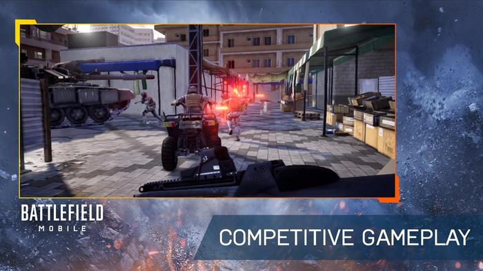 A quadbike is ridden in Battlefield mobile with the caption 'COMPETITIVE GAMEPLAY'
