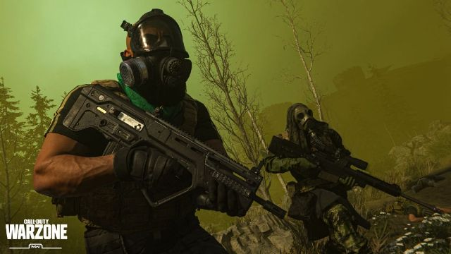 Two Warzone Operators Wearing Gas Masks In Cloud of Gas