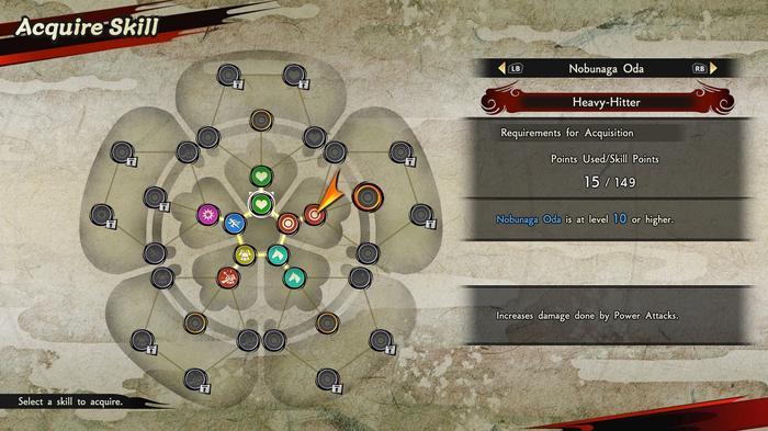 Samurai Warriors 5 screenshot showing a character's skill tree.