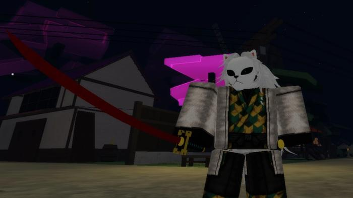 A masked warrior holding a red sword