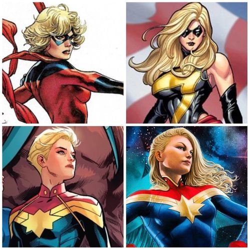 Four different pictures of Captain Marvel, each having a different hairstyle.