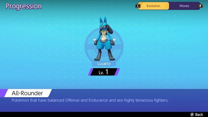 The progression screen showing at what level Pokémon Unite Lucario evolves.