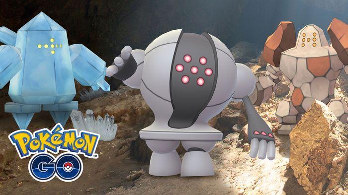 Regirock, Regice, and Registeel in Pokemon GO.