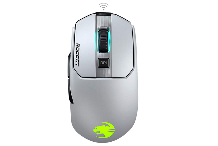 best mouse for fps, white wireless gaming mouse with yellow illuminated logo