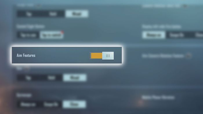 A highlighted view of the Aim Features toggle in PUBG Mobile that allows the OTS button to appear.