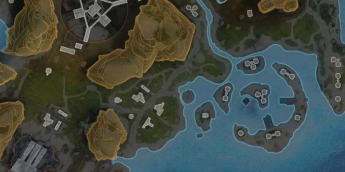 A map showing the coastline of the new Apex Legends map.