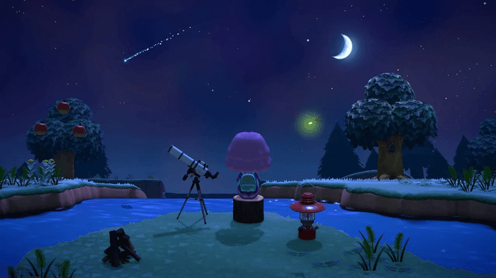 character looks at shooting stars in Animal Crossing New Horizons