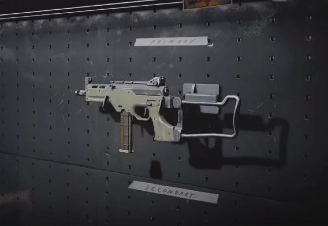 LC10 SMG hanging on a wall