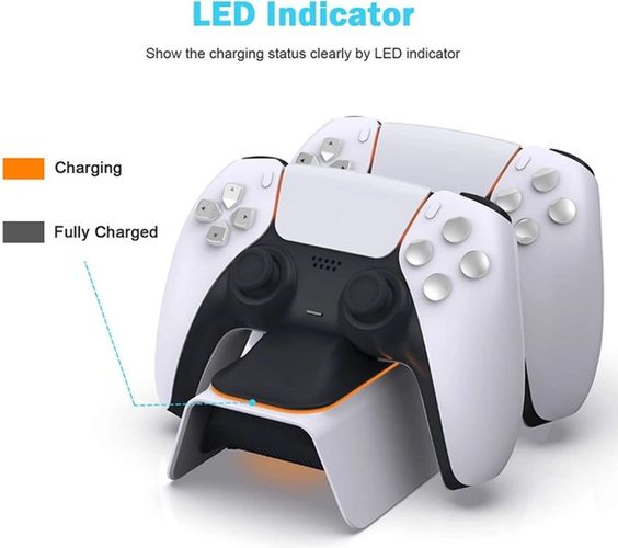 The NexiGo controller charger is pictured with a caption displaying that the black light means it is fully charged.