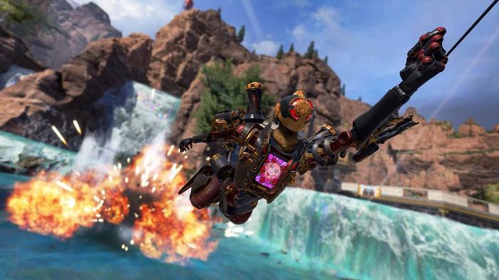 Pathfinder swings across an Apex Legends map
