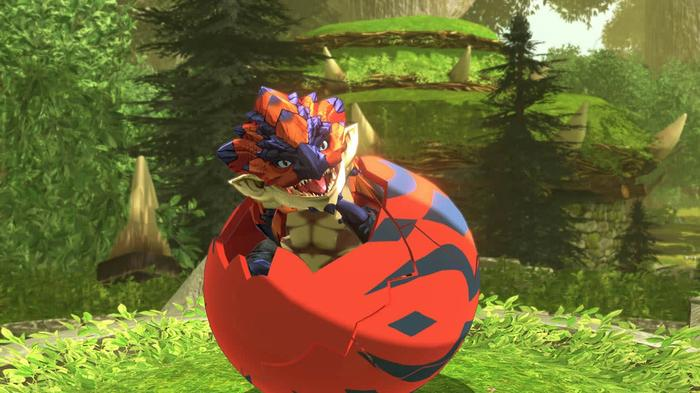 A baby Rathian breaks out of its egg in Monster Hunter Stories 2: Wings of Ruin.