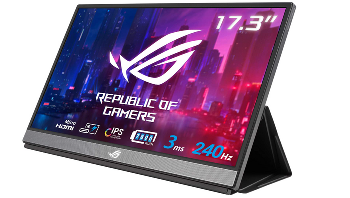 best portable monitor, product image of a silver gaming portable monitor