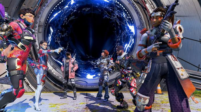 Apex Legends characters in front of the blue portal of the Phase Runner