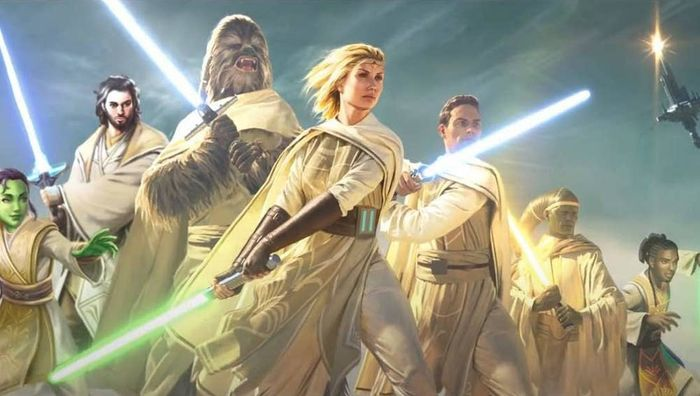 Many Jedi from the High Republic in the picture. This is from a book cover.