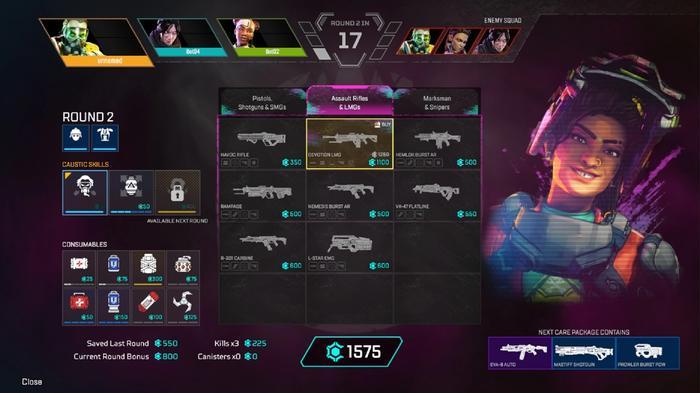 Here's the full shot of the Nemesis Burst AR in Arenas mode.