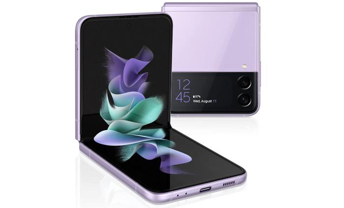 best Samsung phone, product image of a purple Samsung flip phone
