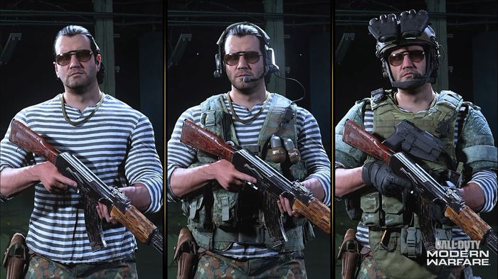 Nikolai holds an AK47 in Warzone. Three outfit variants are shown.