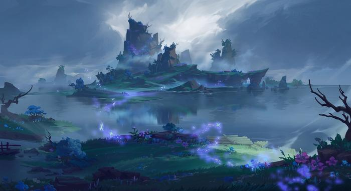 Image showing Tsurumi island covered in fog and mysterious purple lights