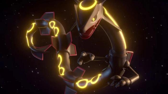 Shiny Rayquaza, which is a black dragon, flies through space.