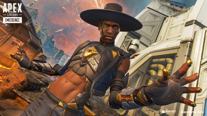 Seer in Apex Legends, wearing black and gold clothing and a large-brimmed black hat.