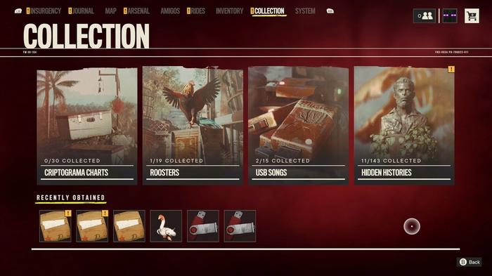The Collection area of the Far Cry 6 menu, featuring Roosters.