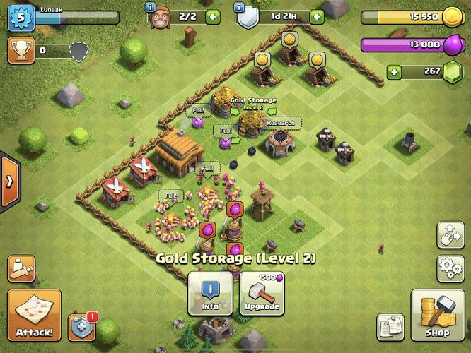 A image showing a Clash of Clans Gold Storage building that can be upgraded.