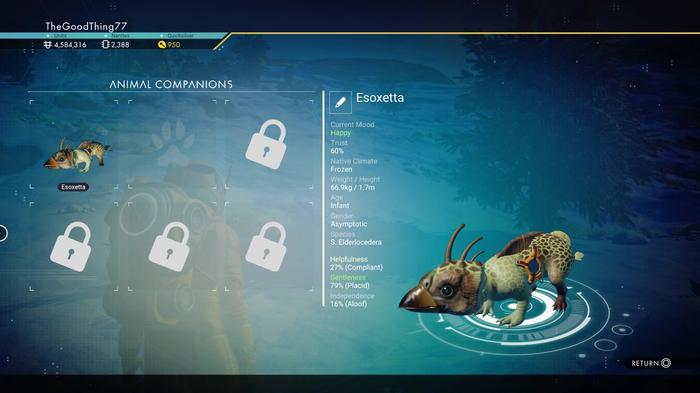 The Animal Companions menu in No Man's Sky, showing locked pet slots that can be purchased for Nanites